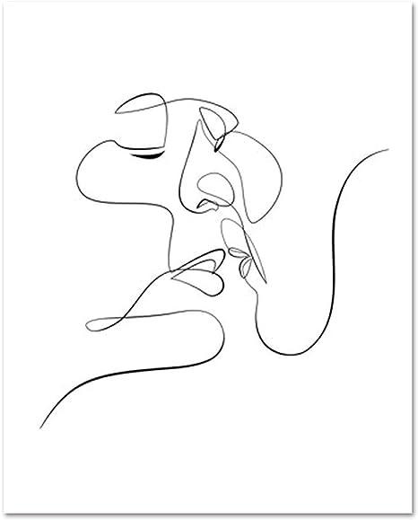 Art mural moderne abstrait sur toile, dessin de visage, silhouette de femme,  esquisse de visage, couple minimaliste pour le salon, 15x20cm No Frame:  Amazon.ca: Maison et Cuisine