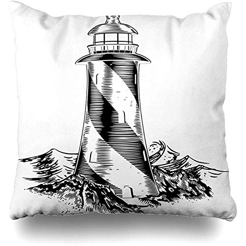 Throw Pillow Cover Square 18x18 Inch House Sketch Lighthouse Vintage Lithograph Rough Waves White Water Wood Woodblock Black Sea Cushion Home Decor Cases