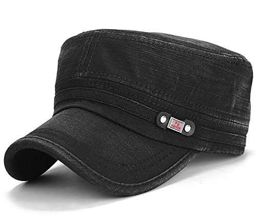 Glamorstar Unisex Cadet Army Cap Washed Cotton Twill Military Corps Hat Flat Top Cap