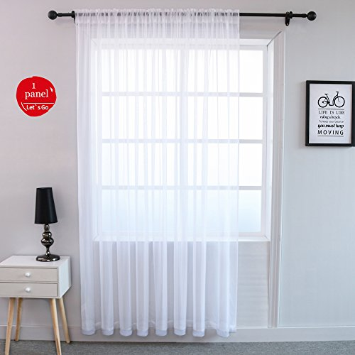 Cheap  KEQIAOSUOCAI White Window Sheer Voile Rod Pocket Curtains One Panel for Sliding..
