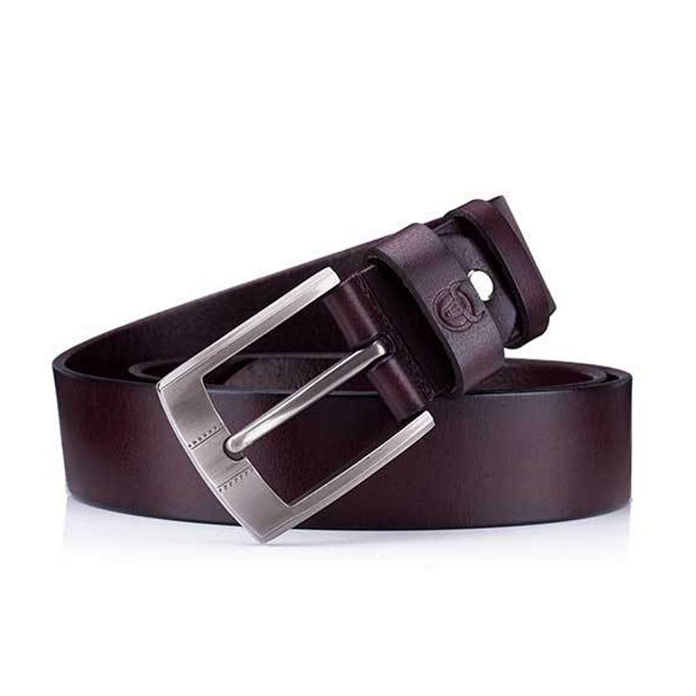 Color : Brown, Size : 110cm, Style : A Lydianzishangwu Mens Belt Crazy Horse Skin Cream Leather Leather Pin Buckle Thickening Youth Casual Belt