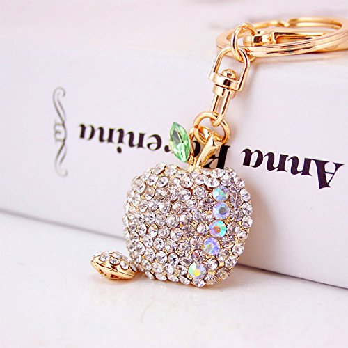 Jzone Bling Bling Crystal Rhinestone Graven 3D Cubic Apple Shaped Metal Keychain Car Phone Purse Bag Decoration Holiday Gift (silver)