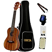 UBETA UC-K-062 Acacia Koa Concert Ukulele with Italy Aquila strings (6 in 1)Kit: Gig bag, clip-on tuner, Aquila strings,picks and straps
