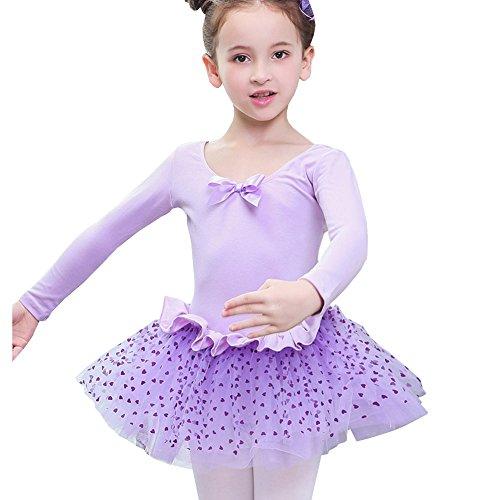 Lisianthus Girls' Tutu Ballet Gymnastics Leotard Dress Purple 5-6T (Purple Leotard And Tutu)