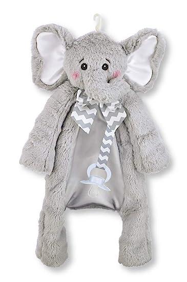 Bearington Baby Lil Spout Pacifier Pet, Gray Elephant Plush Stuffed Animal Lovie and Paci Holder, 15