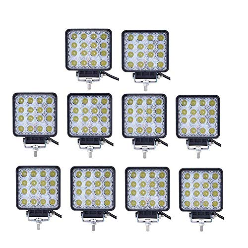 Led Light Bar, Turboo 10PCS 4inch 48W Led Work Light Square Spot Lights Off-road Lights Led lights for Trucks,Off-road Vehicle, ATV, SUV, UTV, 4WD, Jeep, Boat and More