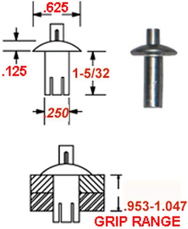 50 BRAZIER HEAD 38-208-32-16 ALUMINUM DRIVE RIVET 1.4 DIAMETER X .953-1.047 GRIP RANGE PLAIN FINISH