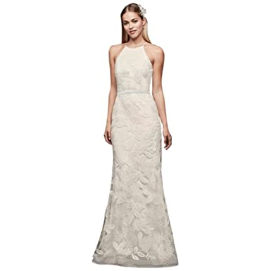 5662946fcd Sequin Leaf-Appliqued High Neck Sheath Gown Style SDWG0686 at Amazon ...