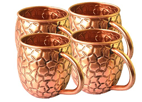 PARIJAT HANDICRAFT Copper Moscow Mule Mugs Capacity 16 Oz Authentic Moscow Mule Mugs, Hand Embossed with Beautifully Diamond Hammered Design and No Inner Lining Set of 4 by PARIJAT HANDICRAFT