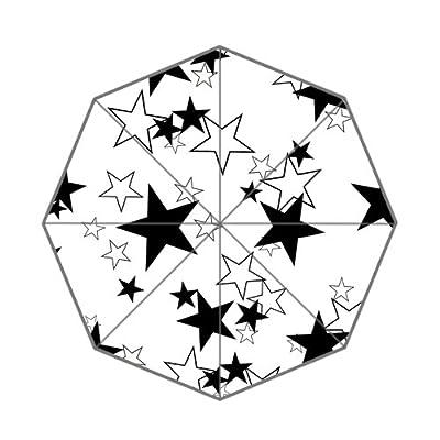 Noir et blanc étoile Décor pliable Parapluie pour adultes adolescents et les enfants