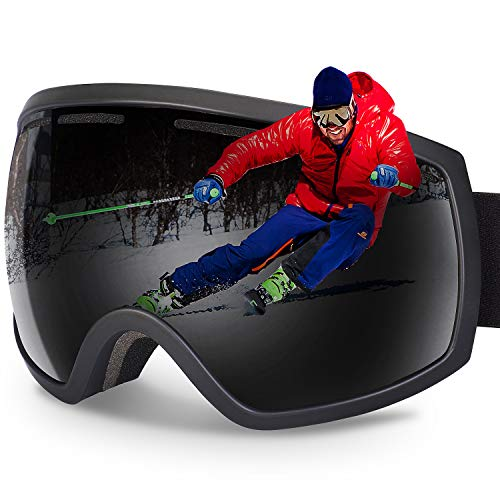 G4Free Ski Snowboard Goggles Spherical Design 100% UV400 Protection Over Glasses Design Gray Lens Snow/Snowboard Goggle for Men & Women & Youth (Gray)