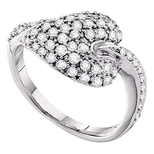 14kt White Gold Womens Round Diamond Leaf Cluster Ring 5/8 (0.25 Ct Diamond Leaf)