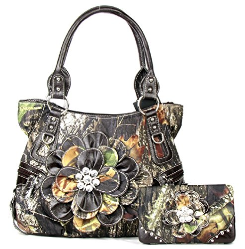 DH JP Camo Bling Rhinestone Camouflage Flower Purse Shoulder Bag Wallet Set (Brown) ()