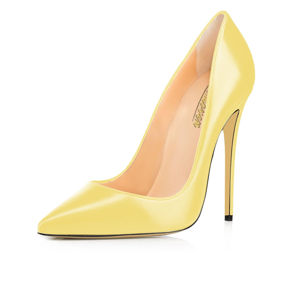 Modemoven Women's Pointy Toe High Heels Slip On Stilettos Large Size Wedding Party Evening Pumps Shoes B073Y3S2CX 11 B(M) US|Yellow Faux Leather