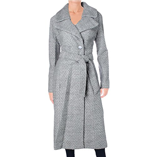 Nanette Lepore Women's Knit Herringbone Fold Over Notch Collar Maxi Coat, Heather Grey, (Fold Over Collar Coat)
