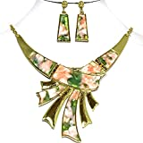 AnsonsImages Pink Green Marble Rectangle Gold Tone Necklace - Best Reviews Guide