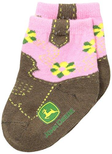 John Deere Baby Girls' Girls' Western Boot Socks 1 Pack, Pink/Brown, 12 Months