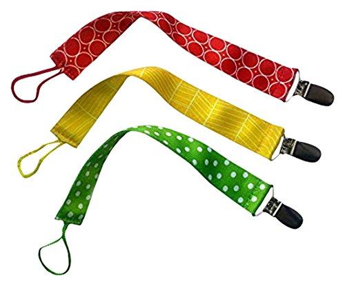 Paci-Minder, das beste Universal-Schnullerhalter. Süßer Schnullerband-Clip. Unisex Stylisches Design für Jungs & Mädchen für Beißring-Spielzeuge, Babydecke. (3er Pack)