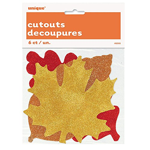 - Paper Cutout Glitter Fall Leaves Decorations, Assorted 6ct