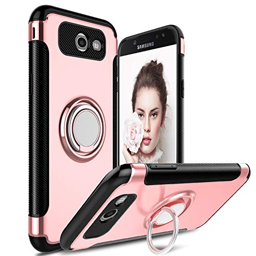 DONWELL Galaxy J7 2017 Business Style Hybrid Shockproof Protective Armor Phone Case Cover with Built-in Ring Grip Stand Holder for Samsung Galaxy J7 Sky Pro / J7 Perx (Rose Gold)