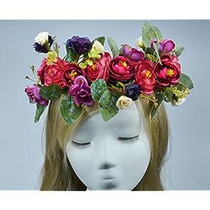 Kinue Novelty Party Decor Bohemian Artificial Camellia Wreath Bride or Bridesmaid Headband_Purple 34
