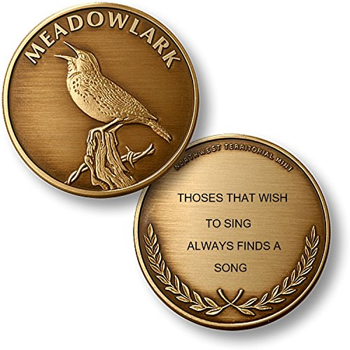 Personalized Custom Engraved North American Wildlife Collection Premium Bronze - Challenge Coin - Medallion (MEADOWLARK) (Collection Meadowlark)