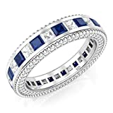 925 Sterling Silver Princess Cut Blue & White Cubic Zirconia CZ Eternity Band Ring