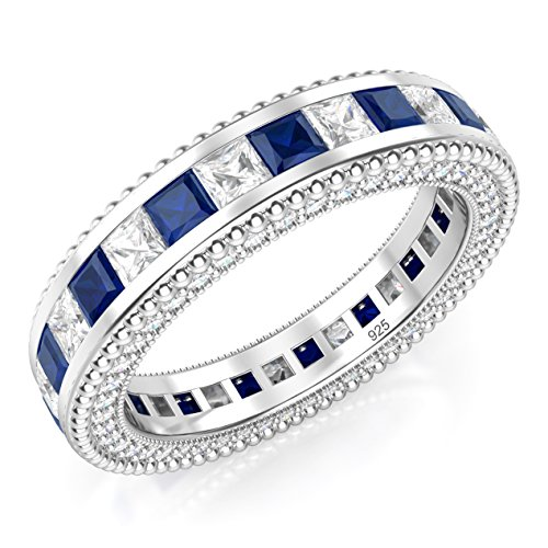 - Sz 9 Sterling Silver 925 Princess Cut Blue & White Cubic Zirconia CZ Eternity Band Ring