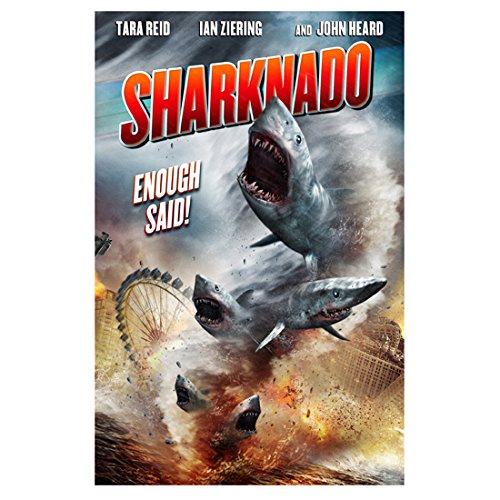 Sharknado (2013) 8x10 Photo Sharks Flying Out of Water Crashing into Ferris Wheel & Buildings 'Enough Said!' Movie Poster kn