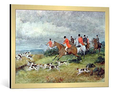 kunst für alle Framed Art Print: Randolph Caldecott Fox Hunting in Surrey 19th Century - Decorative Fine Art Poster, Picture with Frame, 31.5x21.7 inch / 80x55 cm, Gold Brushed