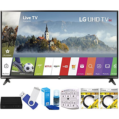 "LG 43UJ6300 43"" UHD 4K HDR Smart LED TV (2017 Model) Plus Terk Cut-The-Cord HD Digital TV Tuner and Recorder 16GB Hook-Up Bundle"