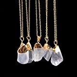 Fashion Unisex Irregular Necklace Natural Crystal Quartz Stone Gemstone Pendant#by pimchanok shop (@8)