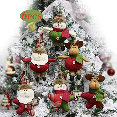 (Alodidae Christmas Tree Ornaments Sets, 6pcs Small Xmas Plush Hanging Ornament Decorations for Home, Festive Season Pendant Decor in Country Colors (Santa/Snowman/Reindeer))