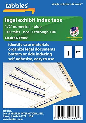 (Tabbies Legal Numerical Exhibit Index Tabs, Blue Color Edge, 1/2