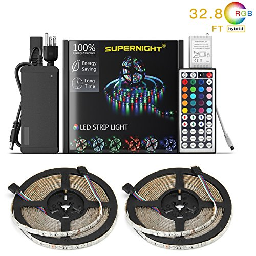 NEW 2018 LED Strip Lights Kit Waterproof – TWO 16.4ft 600 LEDs SMD 3528 RGB Light with 44 Key Remote Controller, Extra Adhesive Tape, Flexible Changing Multi-Color Lighting Strips for TV, Room by SUPERNIGHT