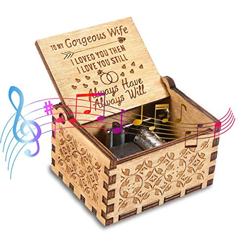 Womdee Music Box, You are My Sunshine to My Wife Theme, Wooden Classic Music Box Crafts with Hand Crank, 18 Note Mechanism Antique Carved Musical Box Gifts for Kids