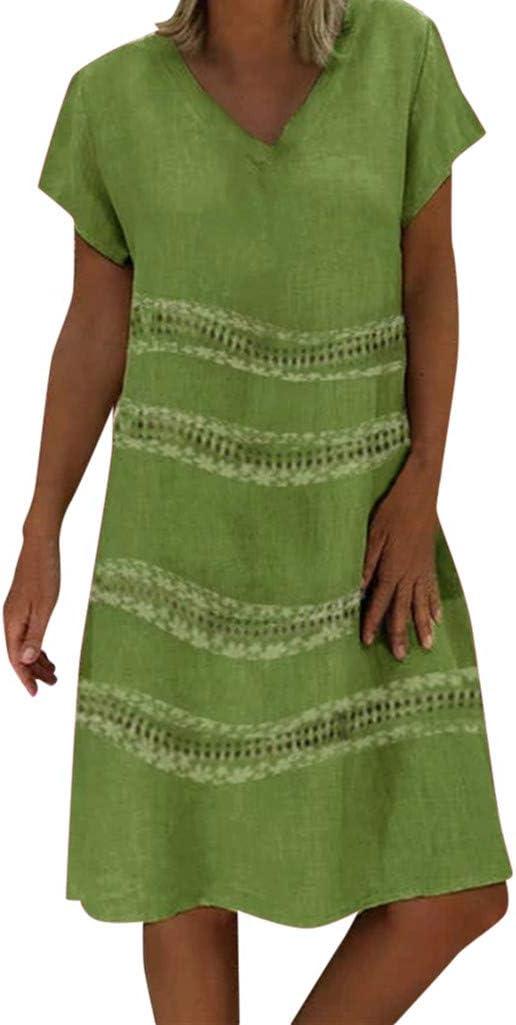 Vestidos Mujer Casual Verano 2019 Vestido de Mujer Estilo Femenino Camiseta de algodón Vestido Casual de Talla Grande para Mujer Camisa Vestido Sol Playa (M, Verde C): Amazon.es: Hogar