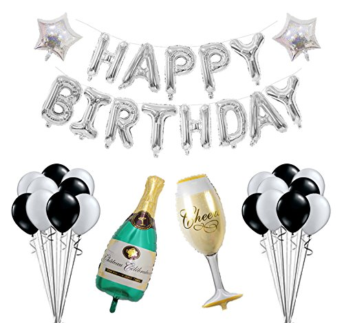 Birthday Party Decoration Kit Happy Birthday Banner Champagne Bottle Goblet Stars Latex Balloons for Birthday Party Supplies … (Silver) -