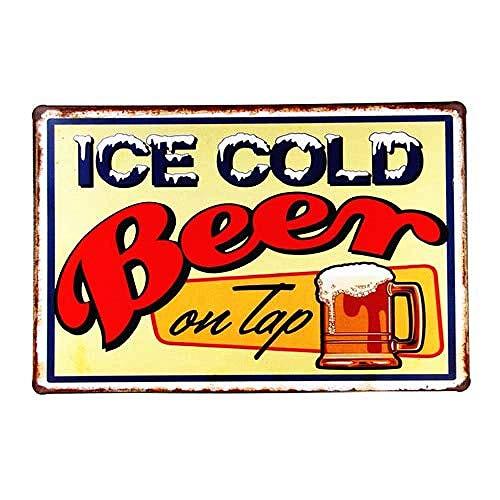 上に冷たいビール 金属板ブリキ看板注意サイン情報サイン金属安全サイン警告サイン表示パネル