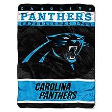 NFL Carolina Panthers Plush Raschel Blanket, 60 x 80-Inch, Blue