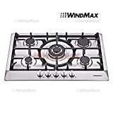 Appliances : Windmax New 30 inch Stainless Steel 5 Burner Built-In Stoves NG LPG Gas Cooktop Cooker
