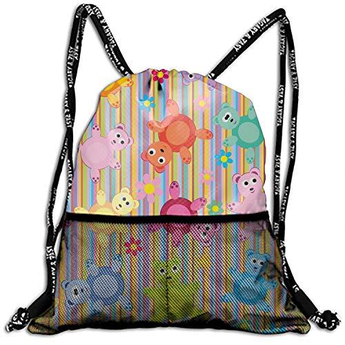Toy Teddy Unisex Outdoor Rucksack Shoulder Bag Travel Drawstring Backpack Bag