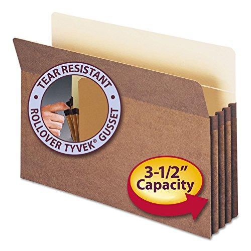 Smead 74805 3 1/2 Expansion File Pockets Straight Tab Redrope Legal MLA/Red 50/Box