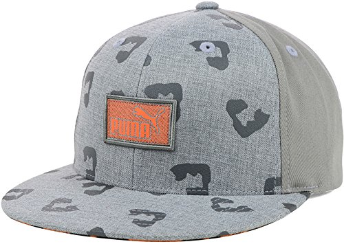 Puma Leopard Animal Print Flatbill Snapback Cap Hat (One Size, Gray-Orange) Print Spandex Hat
