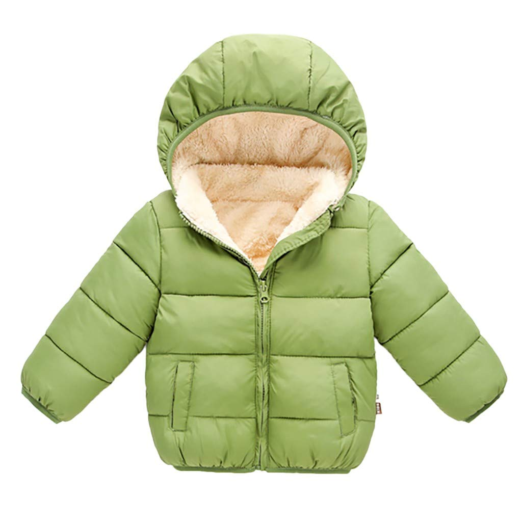〓COOlCCI〓Winter Coats for Kids with Hoods,Light Puffer Jacket for Baby Boys Girls, Outerwear Jacket Down Jackets & Coats Green by COOlCCI_Kids Clothing
