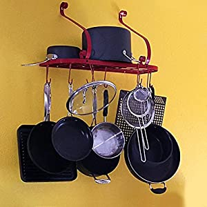 VDOMUS Square Grid Wall Mount Pot Rack, Bookshelf Rack with 10 Hooks, Kitchen Cookware, 24 by 10-inch