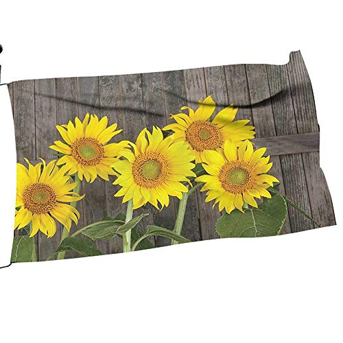 painting-home Garden Flag Arbor Stand Sunflowers Aga st Weathered Aged Fence Garden Brown Yellow Flower Yard Decor24 x 36