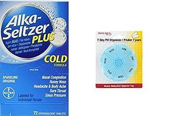 Alka-Seltzer Plus Cold - 72 comprimidos con gratis 7 días plástico píldora organizadores