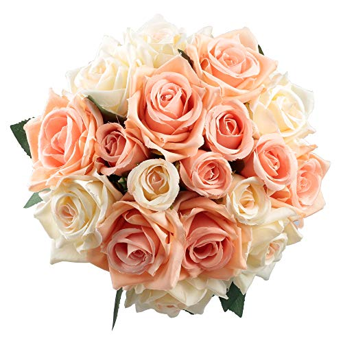 Furnily Rose Artificial Flower 2 Bouquet ... (A-Gentle Coral, 2 Bouquet)