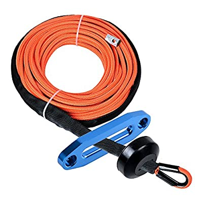 (1pc) Orange 50ft x 1/4 inch 7000Lbs Synthetic Winch Line Cable Rope all Heat Guard Rock Protection w/ Winch Stopper + 6-inch Mount Blue Winch Fairlead For Car Truck ATV UTV Jeep Ramsey KFI